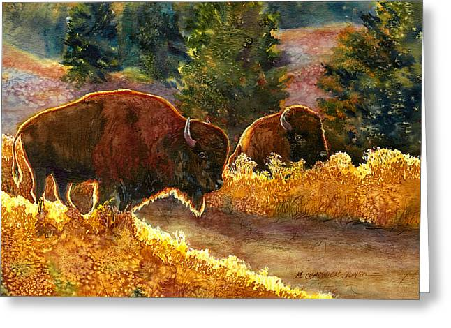 Backlit Paintings Greeting Cards - Lazy Afternoon Custer State Park SD Greeting Card by Marguerite Chadwick-Juner