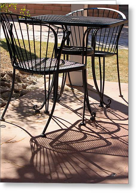 Table And Chairs Photographs Greeting Cards - Lazy Afternoon Greeting Card by Suzanne Gaff