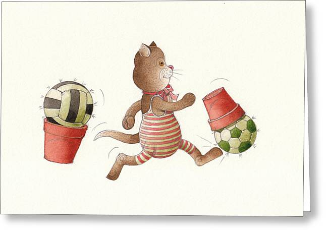 Cat Drawings Greeting Cards - Lazy Cats01 Greeting Card by Kestutis Kasparavicius