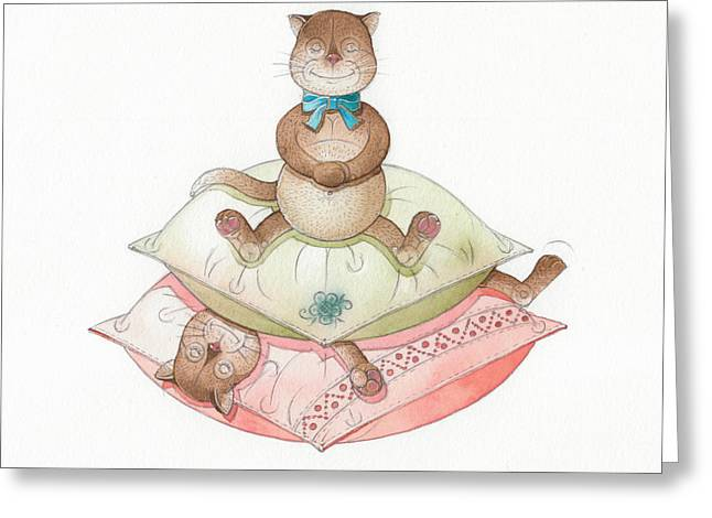 Cat Drawings Greeting Cards - Lazy Cats02 Greeting Card by Kestutis Kasparavicius