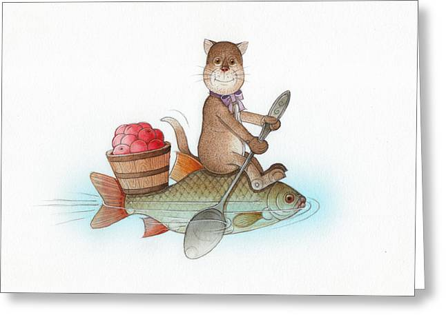 Relaxed. Drawings Greeting Cards - Lazy Cats05 Greeting Card by Kestutis Kasparavicius