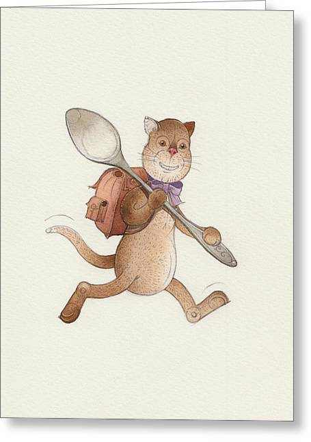 Voyage Drawings Greeting Cards - Lazy Cats06 Greeting Card by Kestutis Kasparavicius
