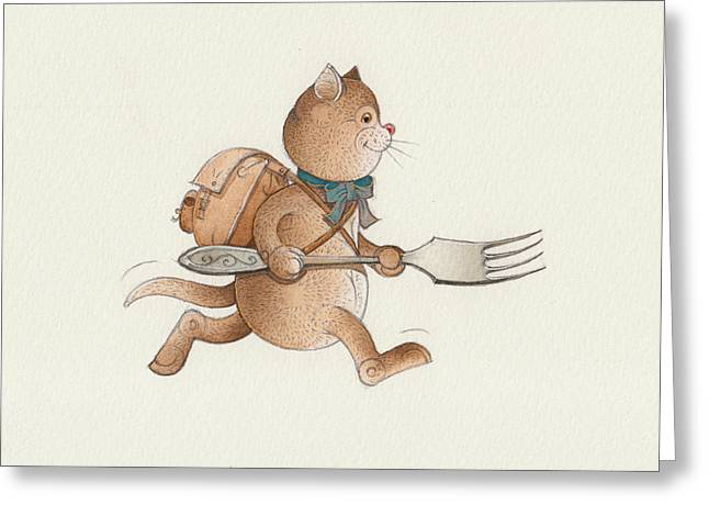 Voyage Drawings Greeting Cards - Lazy Cats07 Greeting Card by Kestutis Kasparavicius
