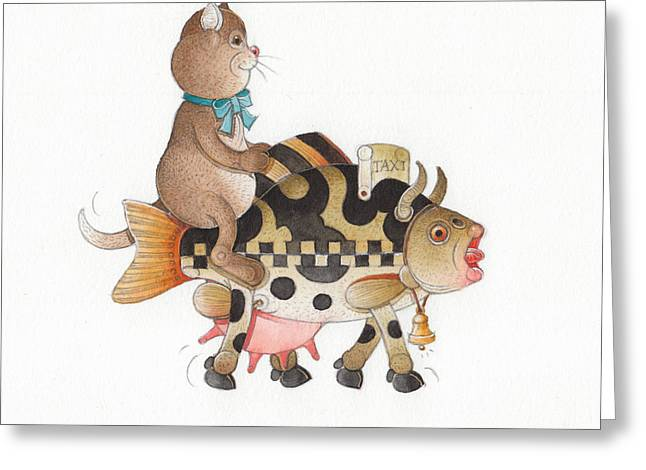 Voyage Drawings Greeting Cards - Lazy Cats12 Greeting Card by Kestutis Kasparavicius