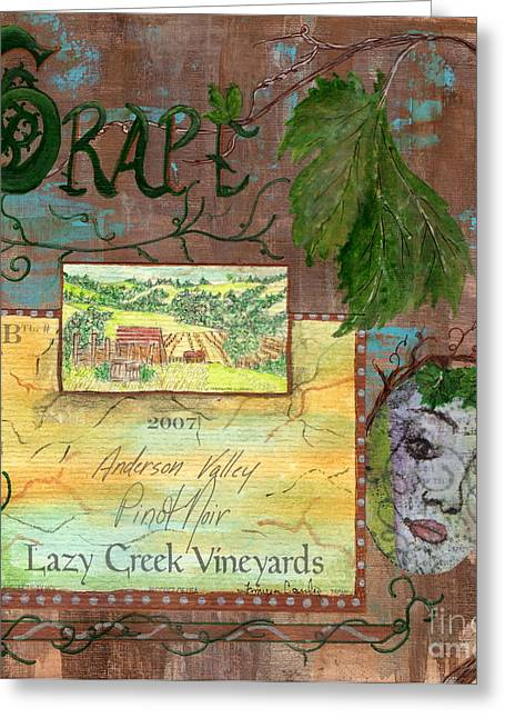 Table Wine Mixed Media Greeting Cards - Lazy Creek Vineyards Greeting Card by Tamyra Crossley