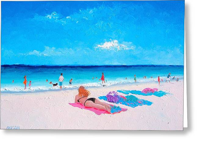 Beach Towel Paintings Greeting Cards - Lazy Day Greeting Card by Jan Matson