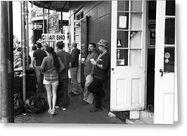 Lazy Day On Bourbon Street Mono Greeting Card by John Rizzuto