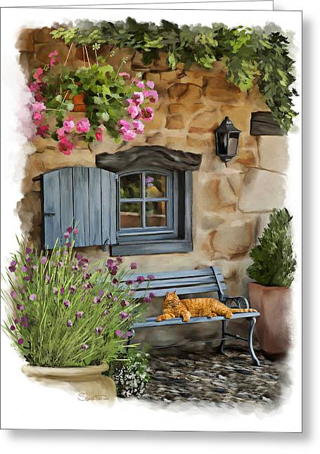 Recently Sold -  - House Pet Greeting Cards - Lazy Days in France Greeting Card by Samantha Tro