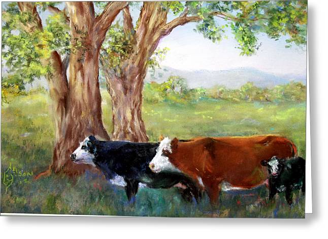 Cattle Pastels Greeting Cards - Lazy Days Greeting Card by Mitzi Nelson