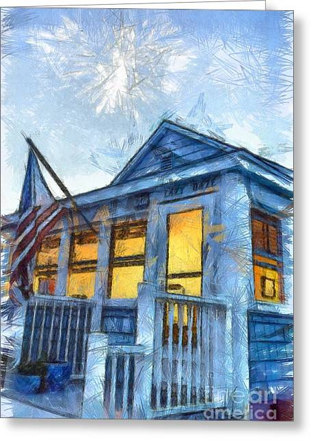 Saybrook Greeting Cards - Lazy Daze Beach Cottage Pencil Sketch Greeting Card by Edward Fielding