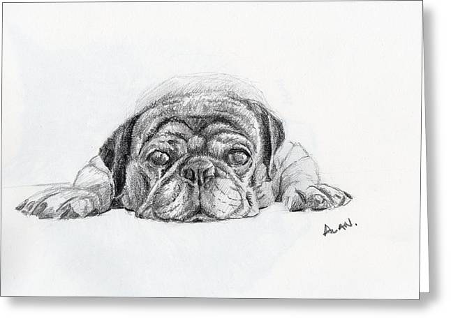 Exhaust Drawings Greeting Cards - Lazy Dog Greeting Card by Alan Smith