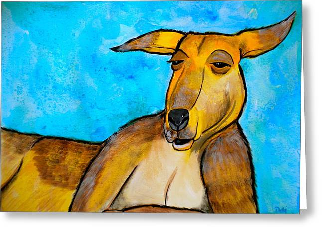 Storybook Mixed Media Greeting Cards - Lazy Roo Greeting Card by Debi Starr
