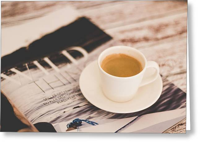 Coffee Greeting Cards - Lazy Saturday and morning coffee Greeting Card by Aldona Pivoriene