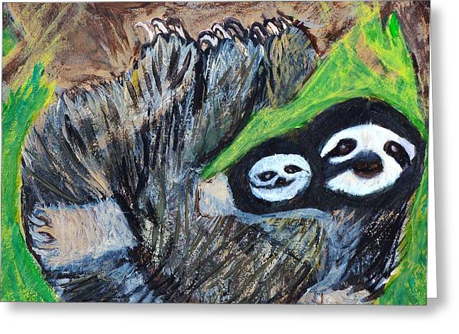 Sloth Paintings Greeting Cards - Lazy Snuggles Greeting Card by Stefanie Nellett