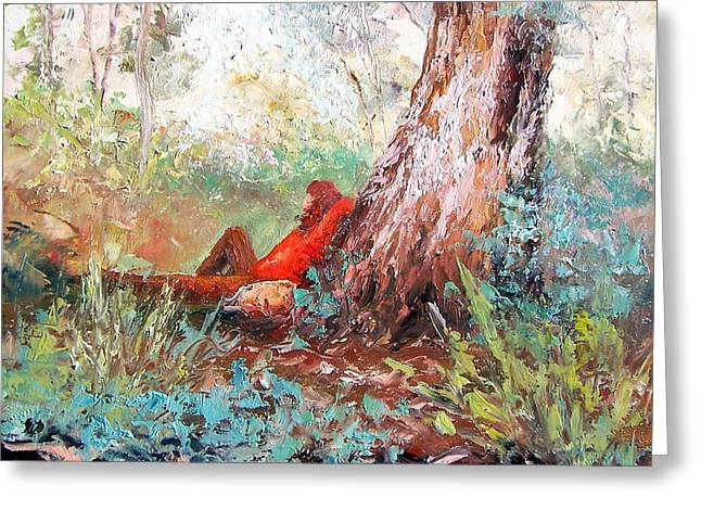 Lounge Paintings Greeting Cards - Lazy summers day by Jan Matson Greeting Card by Jan Matson
