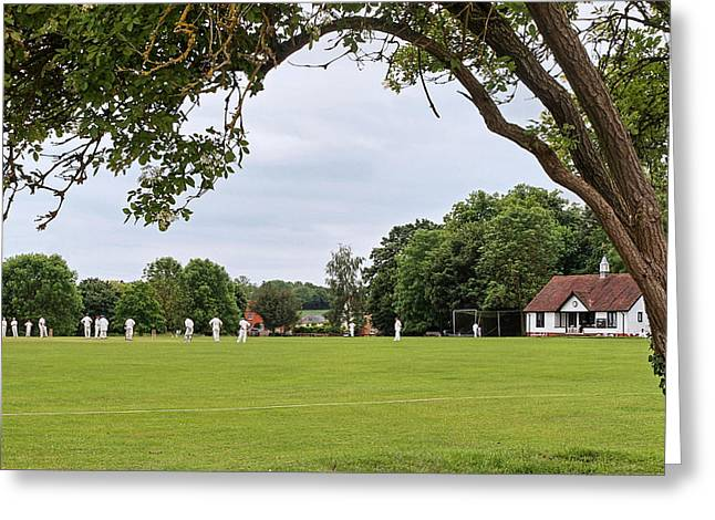 Charming Cottage Greeting Cards - Lazy Sunday Afternoon - Cricket On The Village Green Greeting Card by Gill Billington