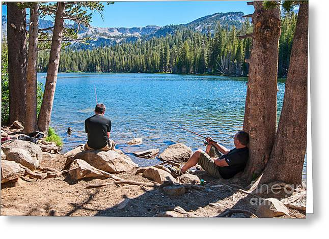 Enjoying Greeting Cards - Lazy Sunday - Scenic view of Mammoth Lakes in California with people relaxing and fishing. Greeting Card by Jamie Pham
