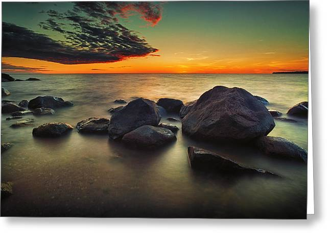 Beach At Night Greeting Cards - Lazy Sunset Greeting Card by Stuart Deacon