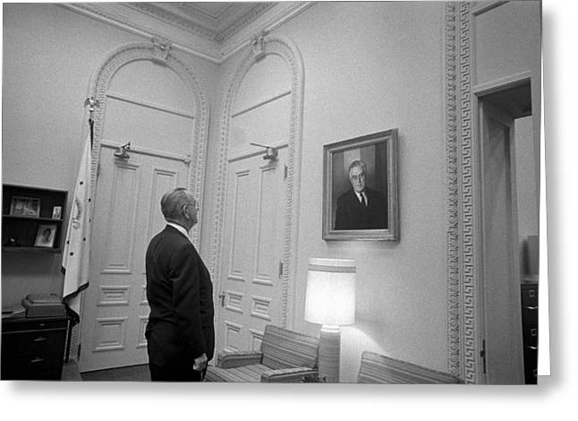 Democrat Photographs Greeting Cards - LBJ Looking At FDR Greeting Card by War Is Hell Store