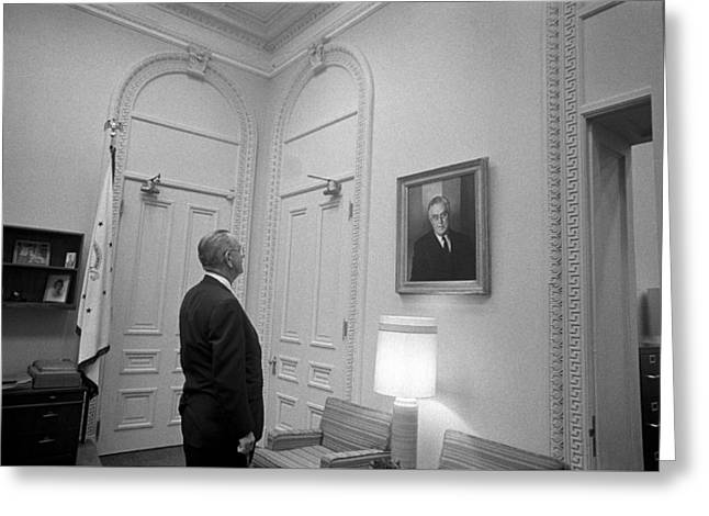 Democratic Greeting Cards - LBJ Looking At FDR Greeting Card by War Is Hell Store