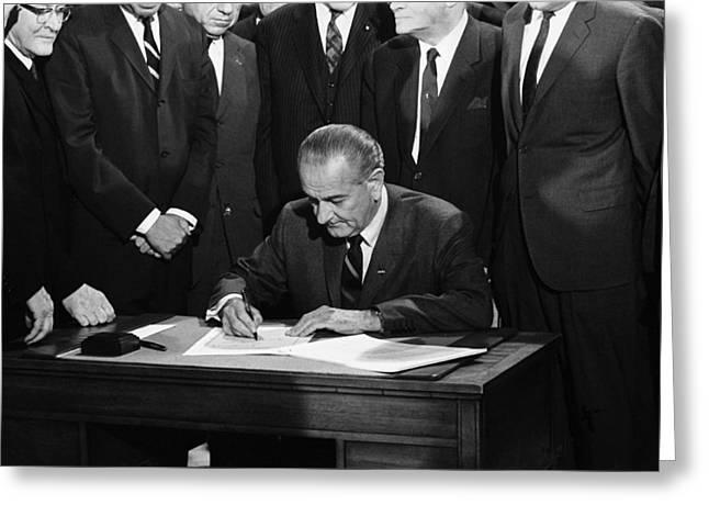 Lbj Signs Civil Rights Bill Greeting Card by Underwood Archives Warren Leffler