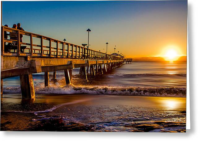 Dave Pyrography Greeting Cards - LBTS Pier Sunrise Greeting Card by David Thurau