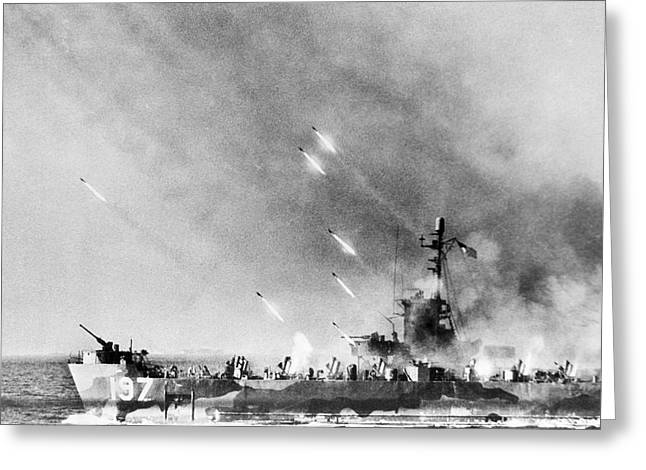 Lci Firing On Okinawa Greeting Card by Underwood Archives