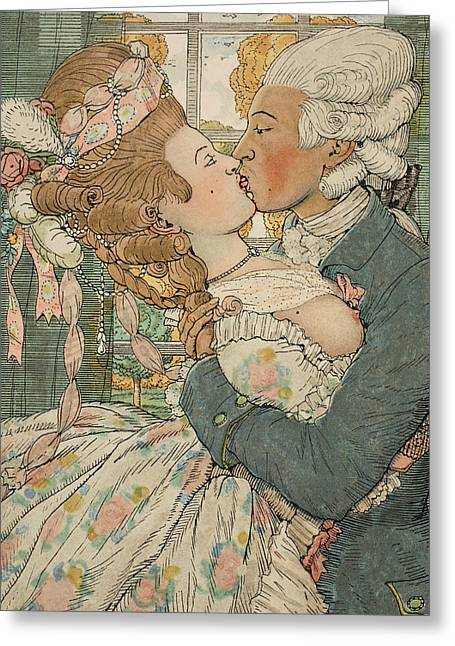 Erotic Male Drawings Greeting Cards - Le Baiser Greeting Card by Konstantin Andreevic Somov