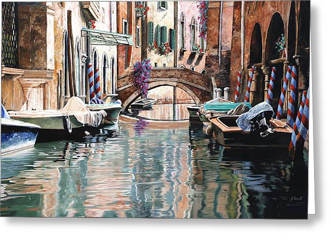 Venedig Greeting Cards - Le Barche E I Pali Colorati Greeting Card by Guido Borelli