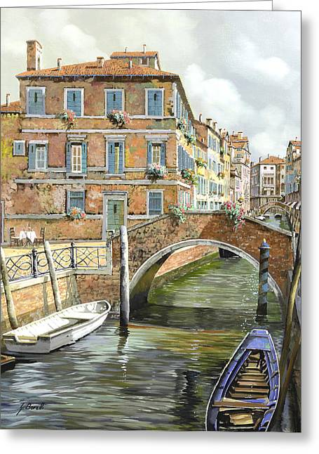 Dating Paintings Greeting Cards - Le Barche Sotto Il Ponte Greeting Card by Guido Borelli