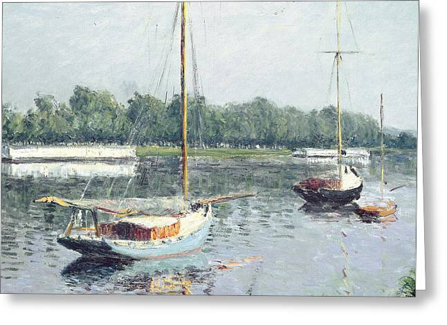 Besides Greeting Cards - Le Bassin dArgenteuil Greeting Card by Gustave Caillebotte