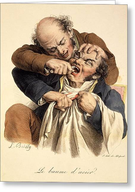 Pulling Greeting Cards - Le Baume Lacier - Having A Tooth Greeting Card by Louis Leopold Boilly