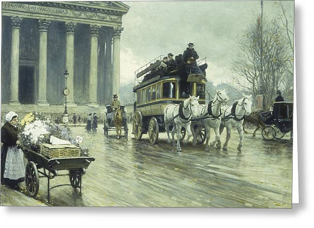 Gloom Greeting Cards - Le Boulevard a la Madeleine Greeting Card by Paul Fischer