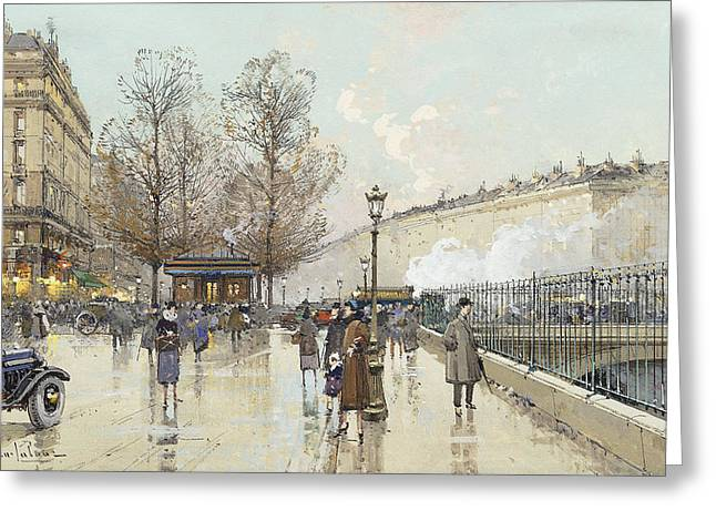 Le Boulevard Pereire Paris Greeting Card by Eugene Galien-Laloue