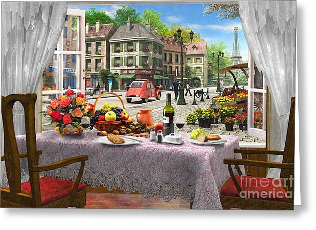 Dine Digital Greeting Cards - Le Cafe Paris Greeting Card by Dominic Davison