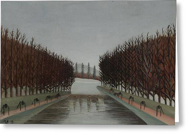 Canal Park Greeting Cards - Le Canal, C.1905 Greeting Card by Henri J.F. Rousseau