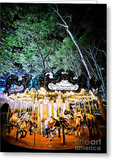 Bryant Greeting Cards - Le Carrousel Bryant Park Greeting Card by Rebekah Wilson