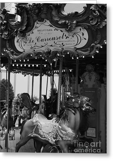 Bryant Park Photographs Greeting Cards - Le Carrousel Greeting Card by David Rucker