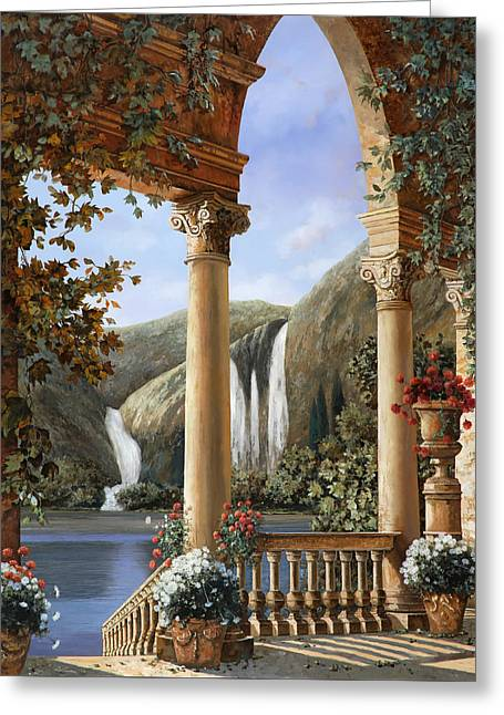 Water Fall Greeting Cards - Le Cascate Greeting Card by Guido Borelli
