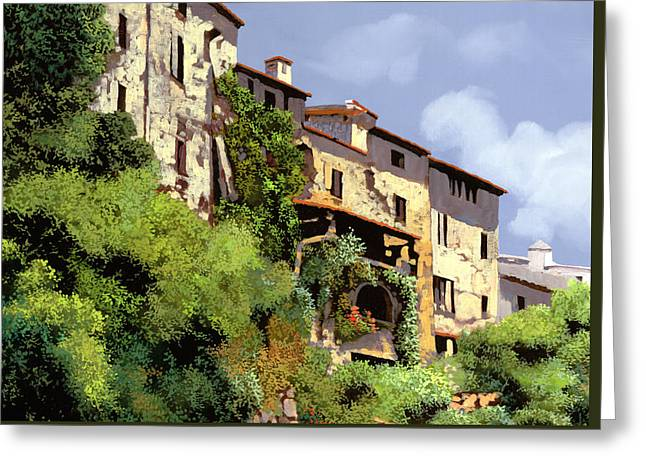 Le Case Sulla Rupe Greeting Card by Guido Borelli