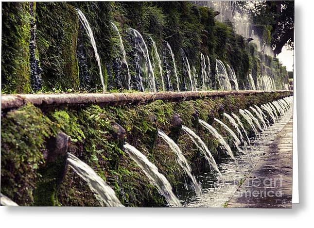 Villa Deste Greeting Cards - Le Cento Fontane The Hundred Fountains  at Villa dEste gardensT Greeting Card by Peter Noyce