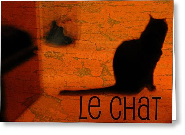 Cat Photographs Greeting Cards - Le Chat Greeting Card by Diana Angstadt