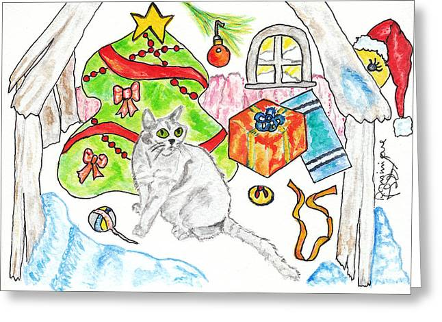 Christmas Greeting Greeting Cards - Le chat gris de RoxAnn / PeeWee / RoxAnns Grey Cat Greeting Card by Dominique Fortier