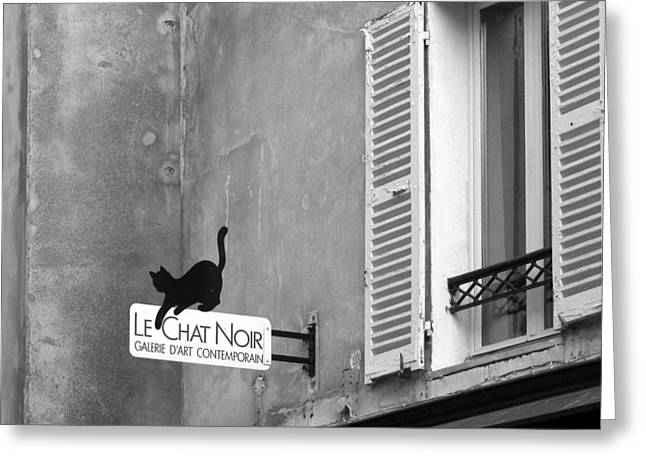 Paris Black Cats Greeting Cards - Le Chat Noir Greeting Card by Nikolyn McDonald