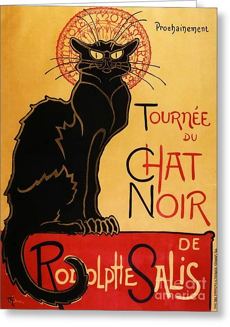 Paris Black Cats Greeting Cards - Le Chat Noir Greeting Card by Pg Reproductions