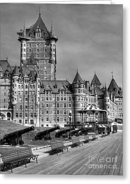 Cupola Greeting Cards - Le Chateau Frontenac  bw Greeting Card by Mel Steinhauer
