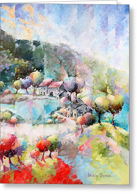 Pointillisme Greeting Cards - Le chemin Greeting Card by Beatrice BEDEUR