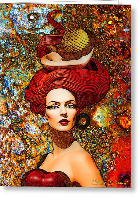 Chuck Staley Greeting Cards - Le Cheveux Rouges Greeting Card by Chuck Staley