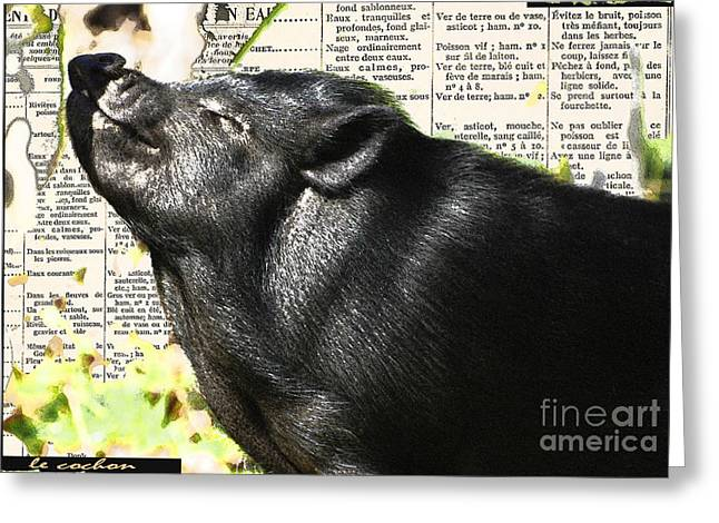 Calligraphy Print Mixed Media Greeting Cards - Le Cochon Hereux - A very Happy Pig Greeting Card by AdSpice Studios