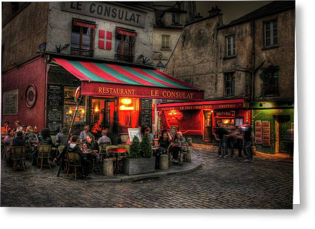 Night Cafe Digital Art Greeting Cards - Le Consulat Greeting Card by Douglas J Fisher